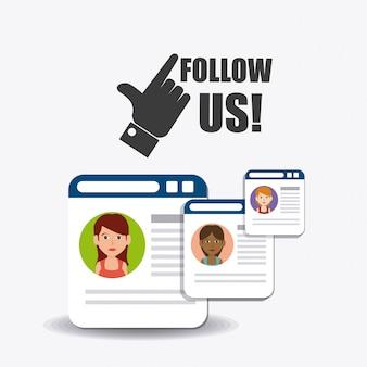 Siga-nos social e empresarial
