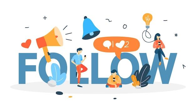 Siga o conceito. publique conteúdo em redes sociais usando smartphone. curta e comente. obtendo feedback. ilustração