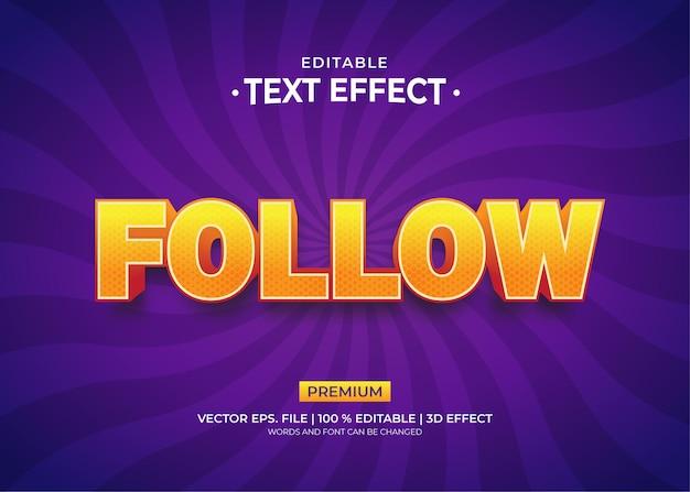 Siga os efeitos de texto editáveis