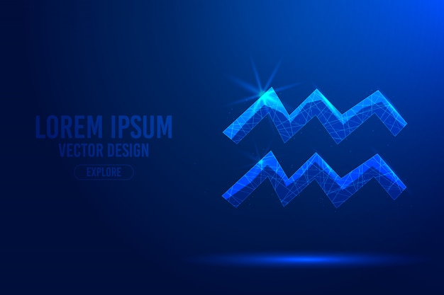 Signo de aquário décimo primeiro abstrato. conceito 3d linear e poligonal de horóscopo, constelação celestial.