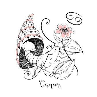 Signo de câncer. crustáceo bonito com uma flor sentado em uma concha.