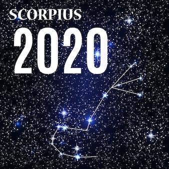 Signo de escorpião com o ano novo e o natal de 2020.