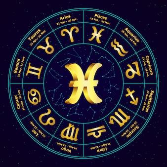Signo de ouro do zodíaco peixes em círculo