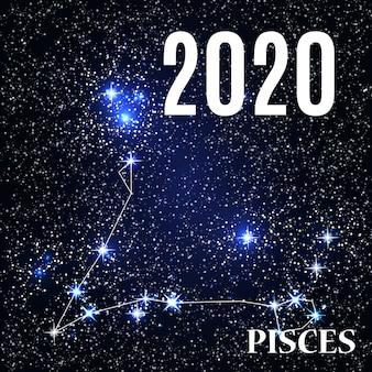 Signo de peixes com o ano novo e o natal de 2020.
