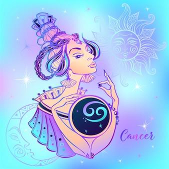 Signo do zodíaco câncer linda garota