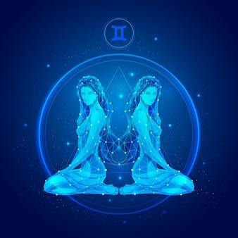 Signo do zodíaco de gêmeos em círculo