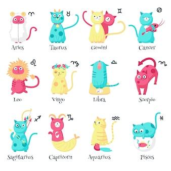 Signos de gato bonito do zodíaco, ilustração isolada
