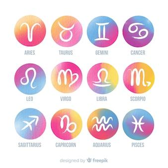 Signos do zodíaco em aquarela