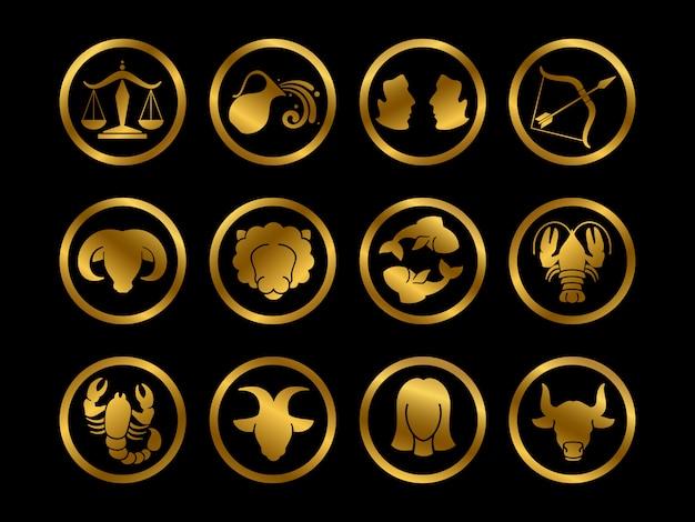Signos do zodíaco horóscopo dourado. conjunto de símbolos de astrologia