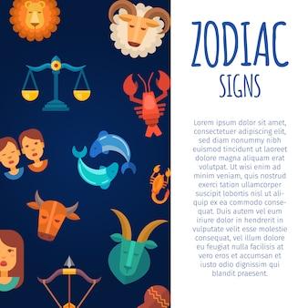 Signos do zodíaco no céu escuro. modelo de cartaz do calendário horóscopo zodiacal e astrológico com texto branco