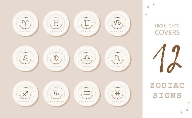Signos do zodíaco no estilo boho. destaques capas de histórias para redes sociais populares.