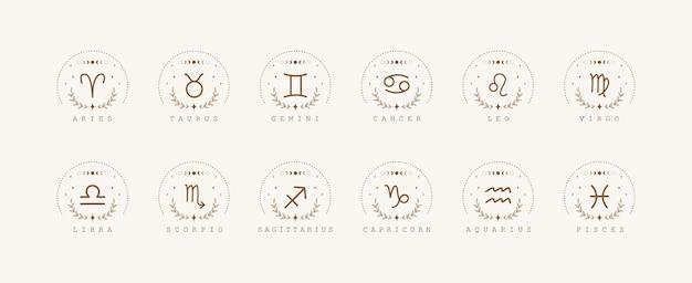 Signos do zodíaco no estilo boho