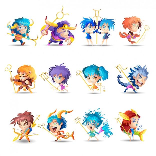 Signos engraçados do zodíaco. conjunto. ilustração colorida de todos os signos do zodíaco, isolado no fundo branco. personagens de desenhos animados engraçados bonitos zodiacais.