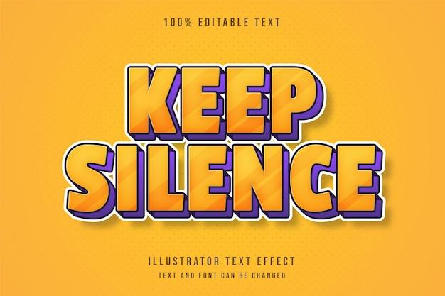 Silêncio, efeito de texto editável gradação amarela laranja roxo sombra em quadrinhos estilo de texto