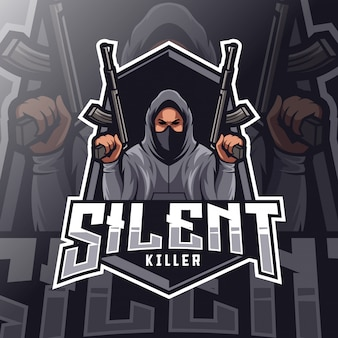 Silencioso assassino mascote esport logotipo