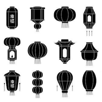 Silhouetes de lanterna chinesa. lanternas de papel asiáticas japonesas no festival de chinatown vector ilustrações dos desenhos animados