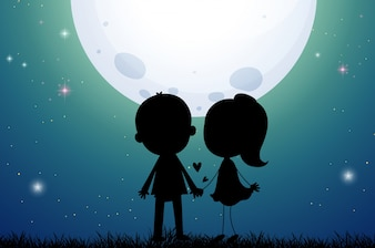 Silhouette amor casal no campo