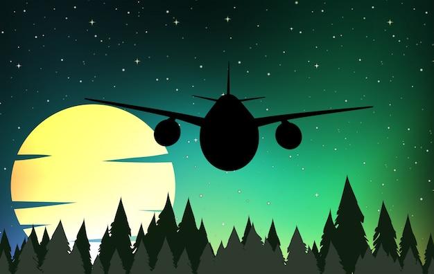Silhouette cena com avião voando