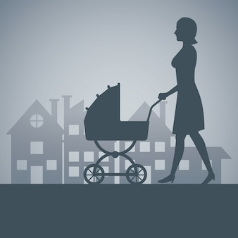 Silhouette, mãe, carruagem, bebê, andar, bairro, fundo