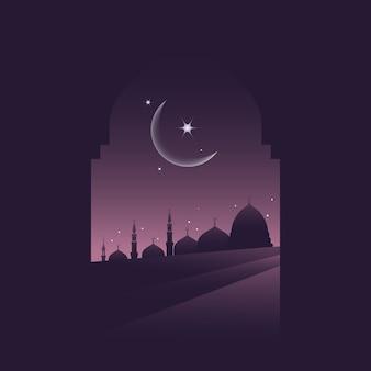 Silhouette mosque ilustração