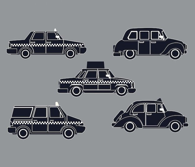 Silhouette set taxi car view