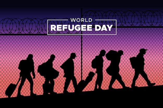 Silhouetts do dia mundial dos refugiados