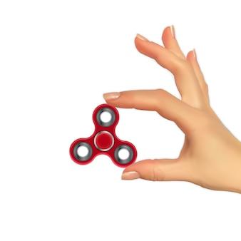 Silhueta 3d realista da mão com spinner