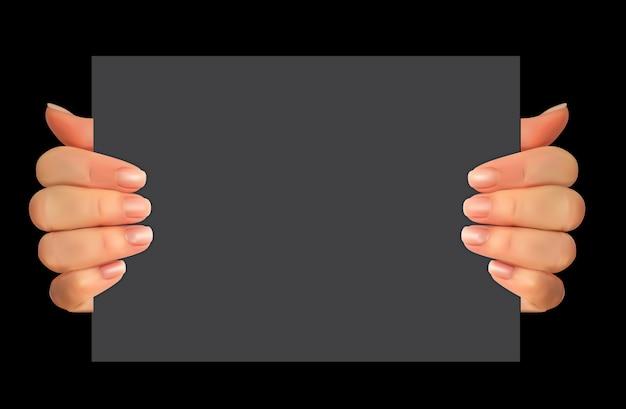 Silhueta 3d realista de mão com papel em branco