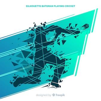Silhueta abstrata batedor jogando críquete