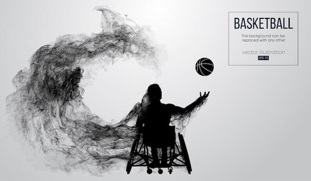 Silhueta abstrata de um jogador de basquete desativado em fundo branco de partículas, poeira, fumaça, vapor. o jogador de basquete executa um lançamento de bola.