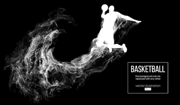 Silhueta abstrata de um jogador de basquete em fundo preto escuro de partículas, poeira, fumaça, vapor. jogador de basquete pulando e realizando afundamento.