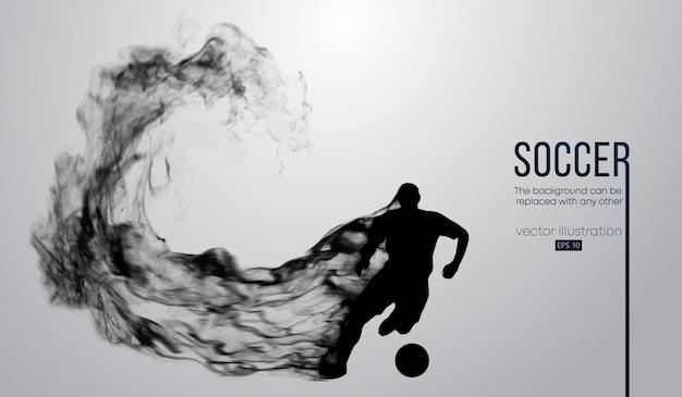 Silhueta abstrata de um jogador de futebol em fundo branco de partículas. jogador de futebol, correndo com a bola. liga mundial e europeia.