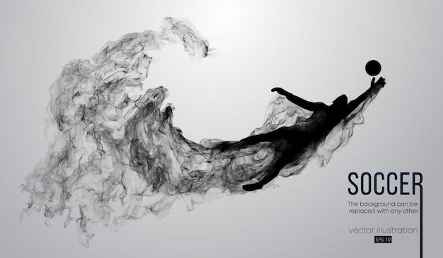 Silhueta abstrata de um jogador de futebol em fundo preto escuro de partículas. jogador de futebol, correndo e pulando com a bola. liga mundial e europeia.