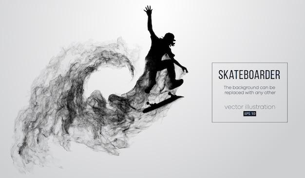 Silhueta abstrata de um skatista no fundo branco de partículas