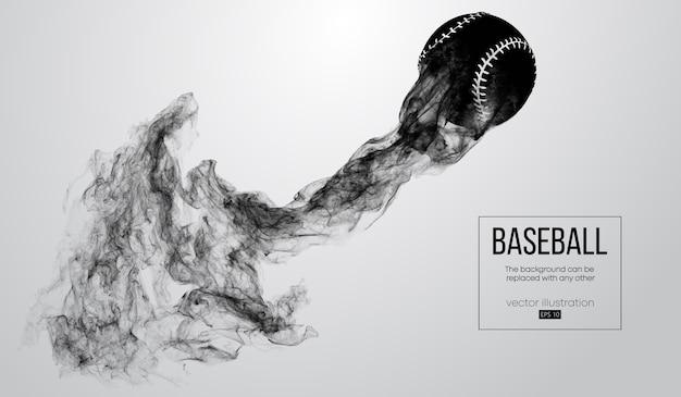 Silhueta abstrata de uma bola de beisebol em um fundo branco de partículas