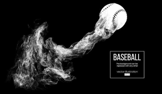 Silhueta abstrata de uma bola de beisebol em um fundo preto de dardo de partículas