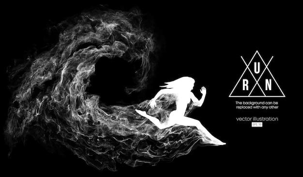 Silhueta abstrata de uma mulher correndo