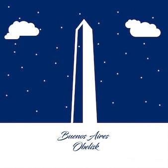 Silhueta abstrato obelisco de buenos aires no fundo de papel azul