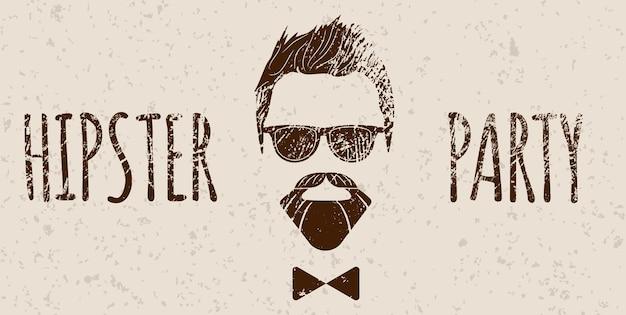 Silhueta barbudo hipster com letras - festa hipster. ilustração em vetor de moda eps 10 isolado no fundo branco