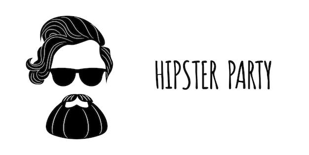 Silhueta barbudo hipster com letras - festa hipster.