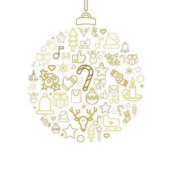 Silhueta bugiganga com ícones lineares do feriado de natal. bola de natal com decorações festivas isoladas
