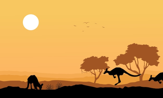 Silhueta canguru na paisagem da colina