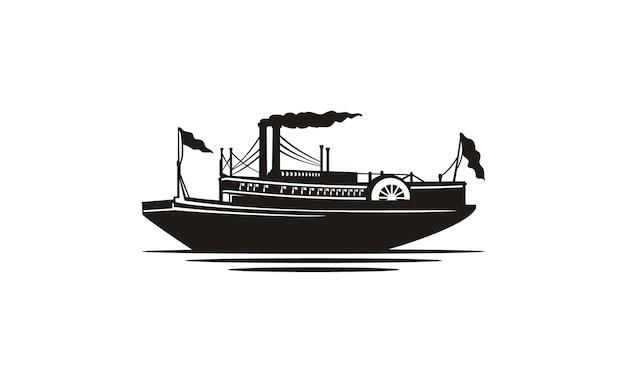 Silhueta clássica do barco a vapor / navio a vapor
