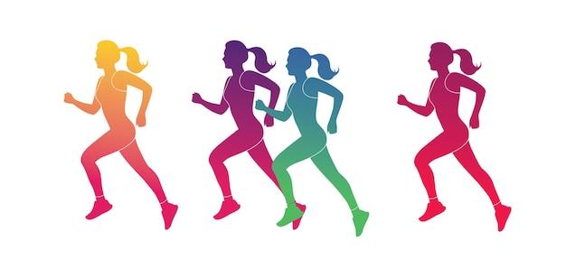 Silhueta colorida abstrata mulher de maratona em execução conceito de estilo de vida saudável ilustração vetorial