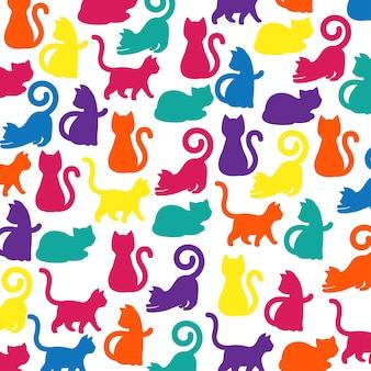 Silhueta colorida, brilhante e vibrante de um gato brincalhão em um padrão uniforme