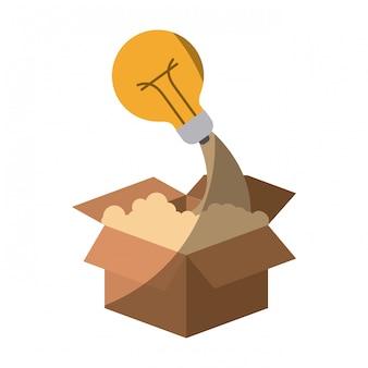 Silhueta colorida de caixa de papelão e lâmpada sem contorno e sombreamento