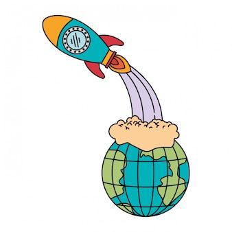 Silhueta colorida do globo terrestre e lançamento de foguete espacial