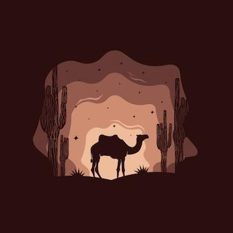 Silhueta criativa camelo deserto árabe
