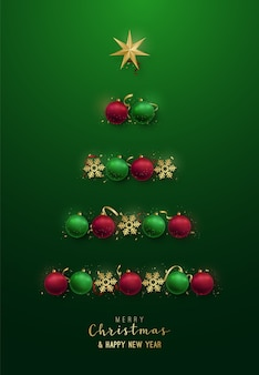Silhueta da árvore de natal com enfeites decorativos, flocos de neve, estrela.