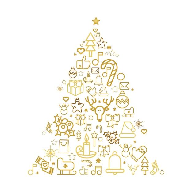 Silhueta da árvore de natal com ícones lineares de férias. cartão comemorativo de pinheiro com decorações festivas